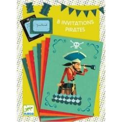 BIGLIETTI D'INVITO E BUSTE 8 invitations des pirates COMPLEANNO pirati DJECO 4 soggetti