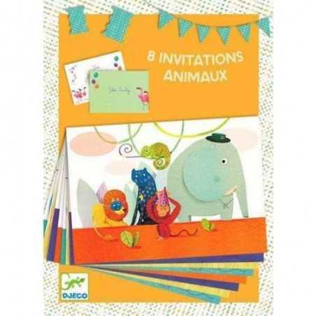 BIGLIETTI D'INVITO E BUSTE 8 invitations des animaux COMPLEANNO animali DJECO 4 soggetti