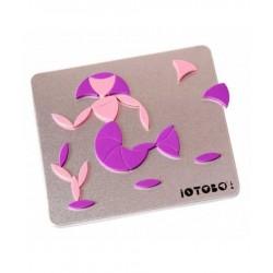 IOTOBO POCKET mosaico magnetico 40 PEZZI costruzioni 3 FORME set giovani artisti ROSA E VIOLA età 5+