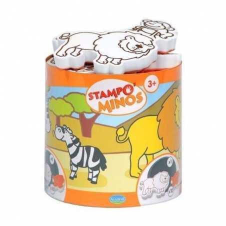 STAMPOMINOS stampo minos 10 TIMBRI con tampone NERO Aladine ANIMALI DELLA SAVANA stampo'minos STAMPINI 3+