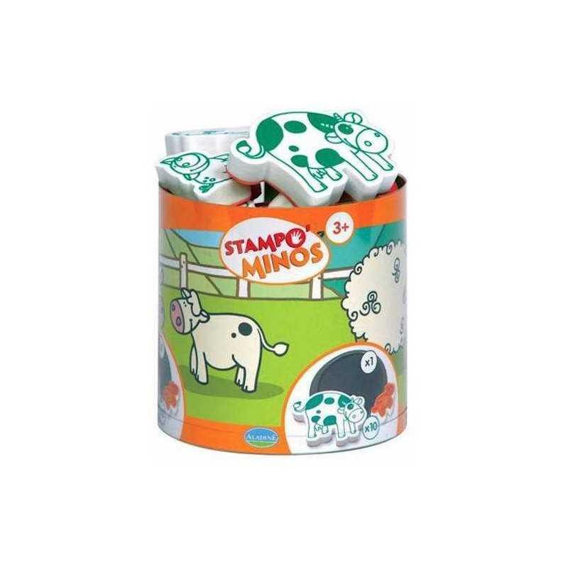 STAMPOMINOS stampo minos 10 TIMBRI con tampone NERO Aladine ANIMALI DELLA FATTORIA stampo'minos STAMPINI 3+