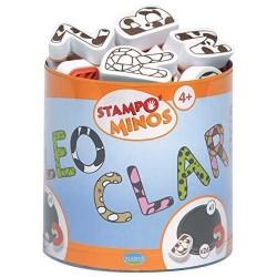 STAMPOMINOS stampo minos 10 TIMBRI con tampone NERO Aladine ALFABETO stampo'minos STAMPINI 3+