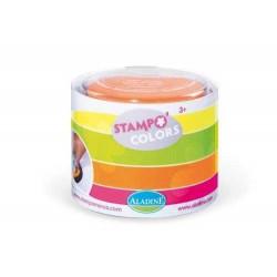 STAMPOMINOS stampo colors FLUO set di 4 tamponi VERDE GIALLO ROSA ARANCIONE Aladine TAMPONE 3+
