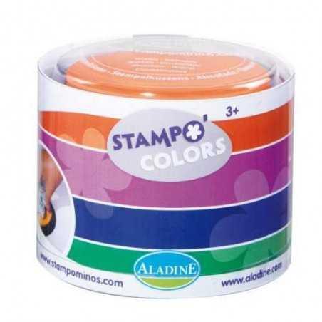 STAMPOMINOS stampo colors CARNEVALE set di 4 tamponi colorati VERDE VIOLA ROSA ARANCIONE Aladine TAMPONE 3+