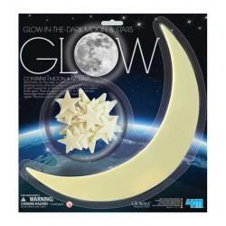 SET LUNA GRANDE E STELLE GLOW 12 stelline e 1 luna MOON fluorescente STARS adesive 4M SI ILLUMINANO AL BUIO età 3+