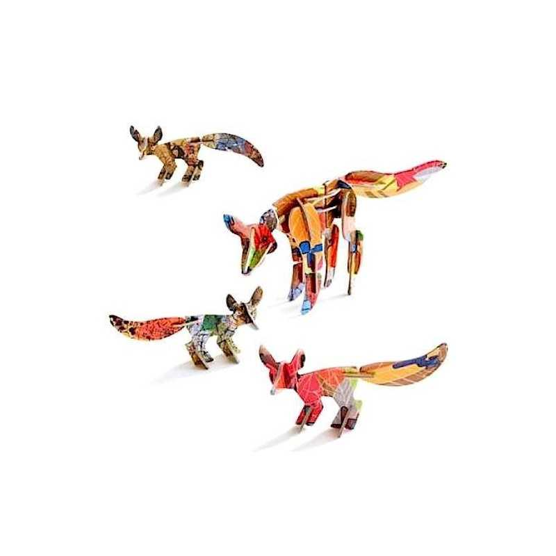 FOX & CUBS TOTEM costruzioni STUDIO ROOF cartone riciclato VOLPE CON 3 PICCOLI arredo DESIGN età 6+