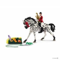 CONCORSO DI SALTO A OSTACOLI CON GIUMENTA KNABSTRUPPER Schleich KIT gioco SET farm life 41434 miniature in resina 3+