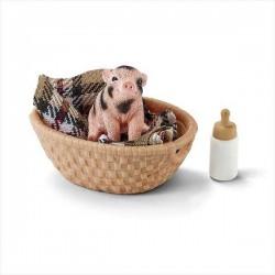 MAIALINO CON BIBERON Farm World SET maiale cucciolo KIT Schleich GIOCO con cesta e coperta 42294 miniature in resina ANIMALI 3+