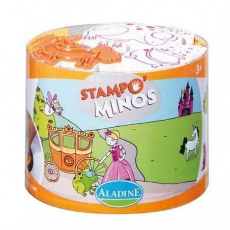STAMPOMINOS stampo minos 10 TIMBRI con tampone NERO Aladine FATE E PRINCIPESSE stampo'minos STAMPINI 3+
