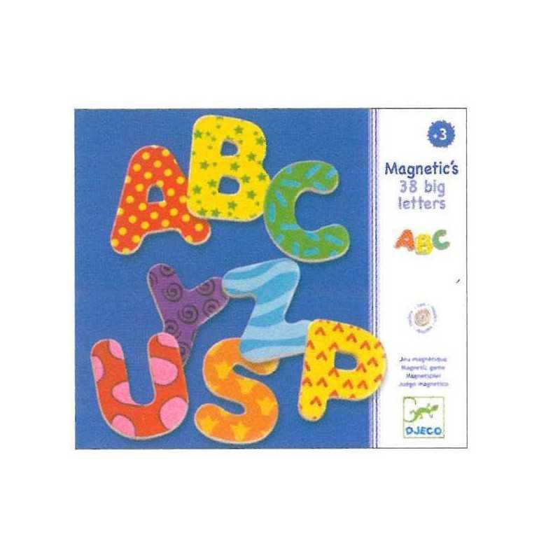 LETTERE MAGNETICHE 38 pezzi GRANDI Djeco IN LEGNO colorate DJ03100 educativo GIOCO età 3+