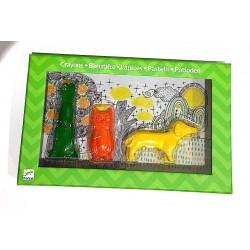 PASTELLI a forma di animali CANE GUFO CONIGLIO 3 pezzi DJECO colorati GIALLO ARANCIO VERDE artistico KIT età 2+