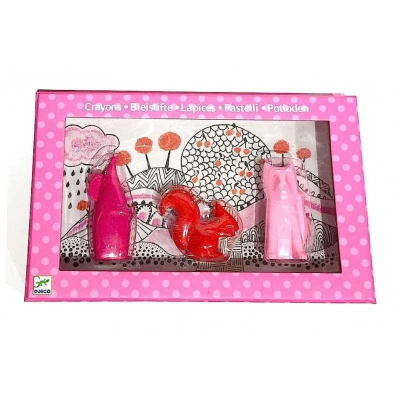 PASTELLI a forma di animali GATTO TOPO SCOIATTOLO 3 pezzi DJECO colorati ROSSO VIOLA ROSA artistico KIT età 2+