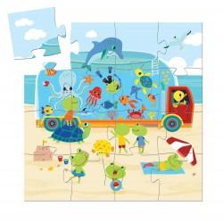 PUZZLE gioco AQUARIUM 16 pezzi giganti in cartone DJECO scatola sagomata DJ07266 età 3+