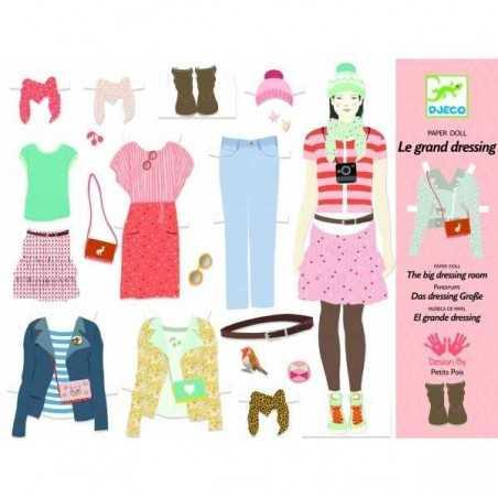 GRANDE CABINA ARMADIO bamboline da vestire VESTITI kit artistico DJECO creativo DJ09825 età 7+
