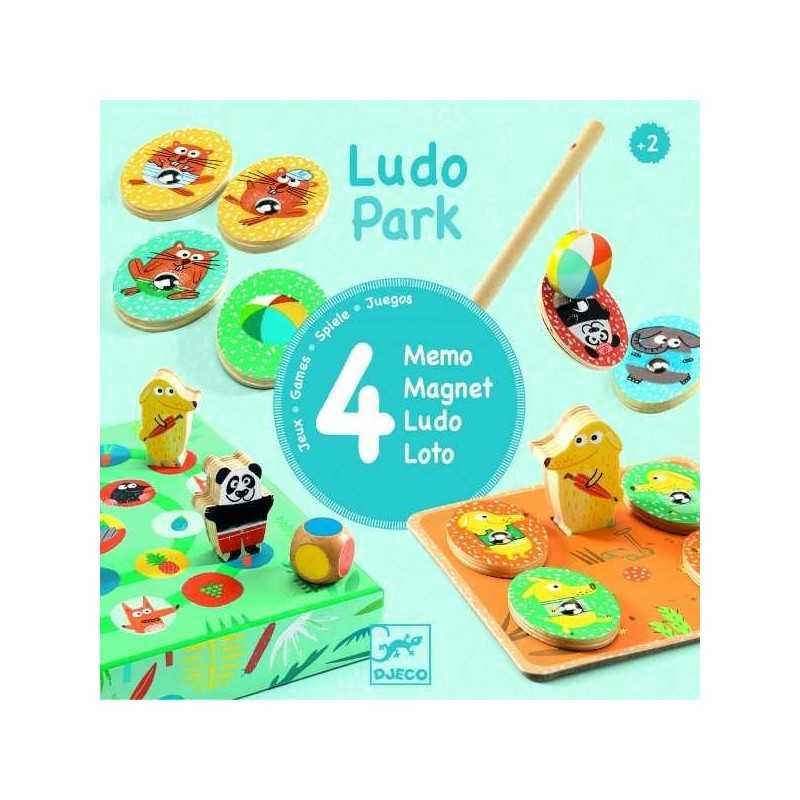 LUDO PARK 4 giochi MEMO LOTO LUDO MAGNET gioco COFANETTO Djeco DA TAVOLO età 2+
