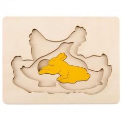 Puzzle in legno GALLINA E I SUOI AMICI 7 pezzi Hape George Luck E6510 età da 3 anni