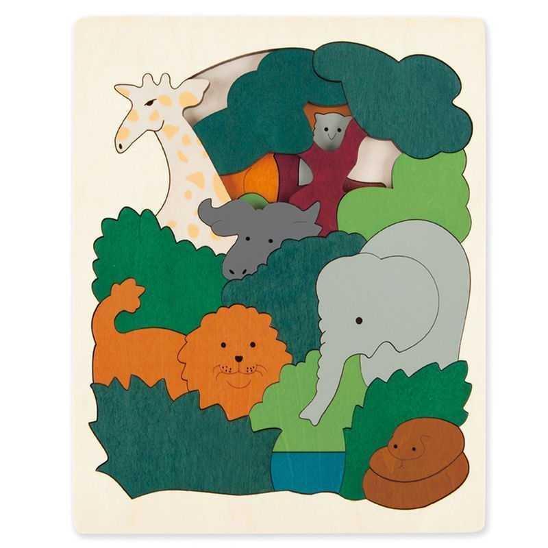 Puzzle in legno ANIMALI AFRICANI 36 pezzi Hape George Luck E6520 età da 6 anni