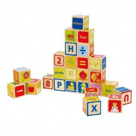 BLOCCHI ABC in legno numeri lettere HAPE E0419 cubi da impilare da 2 anni