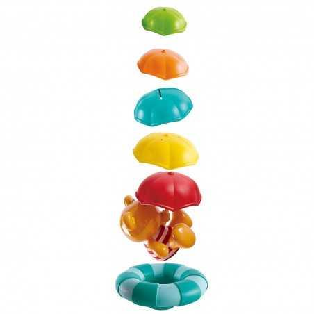 OMBRELLI IMPILABILI gioco da bagno IN PLASTICA 6 pezzi TEDDY & FRIENDS bagnetto HAPE 12 mesi +