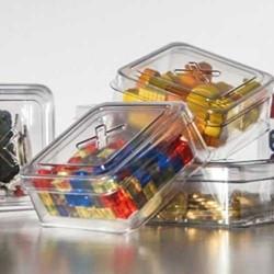 GEEKBOX set 3 scatoline in plastica organizer token accessorio giochi da tavolo trasparente