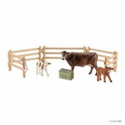 Set TRIO DI MUCCHE CON RECINTO farm world SCHLEICH animali in resina ESCLUSIVO 42392 fattoria VITELLI età 3+
