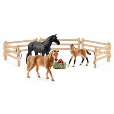 Set TENNESSEE WALKER AL PASCOLO farm world SCHLEICH animali in resina ESCLUSIVO 42391 fattoria CAVALLI età 3+