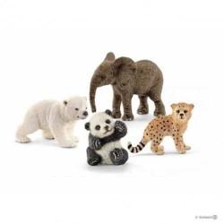 Set 4 pezzi PICCOLI ANIMALI SELVATICI wild life SCHLEICH animali in resina 14794  ESCLUSIVO età 3+