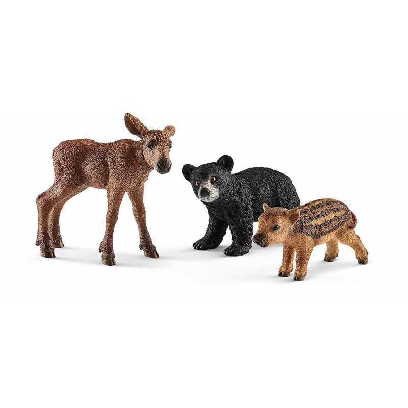 ANIMALI DEL BOSCO CUCCIOLI wild life Schleich 41457 cinghiale cerbiatto orsetto animali in resina