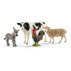 SET FATTORIA SCHLEICH 42385 Mucca Pecora Asino Gallo Starter Set Farm World