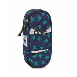 ASTUCCIO Invicta LIP bag FACCE boy PORTAPENNE fantasy BLU scomparto interno attrezzato PENCIL BAG