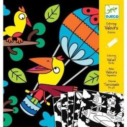 COLORARE VELLUTO 5 quadri BESTIOLINE animali kit artistico CREATIVO Djeco 6 - 9 ANNI DJ09621