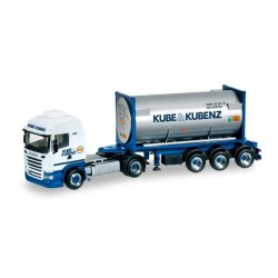 SCANIA R 2013 HL GAS CONTAINER KUBE KUBENZ Herpa 303927 Auto Trucks Camion scala 1:87 model