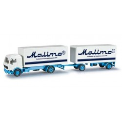 MERCEDES BENZ BOX TRAILER MALIMO Herpa 303194 Auto Trucks Camion scala 1:87 model