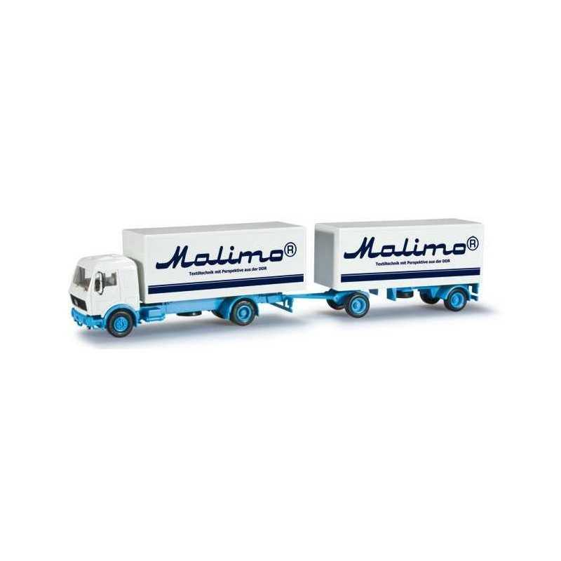 MERCEDES BENZ BOX TRAILER MALIMO Herpa 303194 Auto Trucks Camion scala 1:87 model