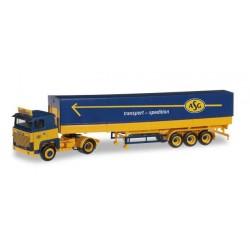 SCANIA 141 CANVAS SEMITRAILER ASG Herpa 304306 Auto Trucks Camion scala 1:87 model