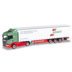 SCANIA R 2013 HL CURTAIN CANVAS SEMITRAILER WANDT Herpa 303996 Auto Trucks Camion scala 1:87 model