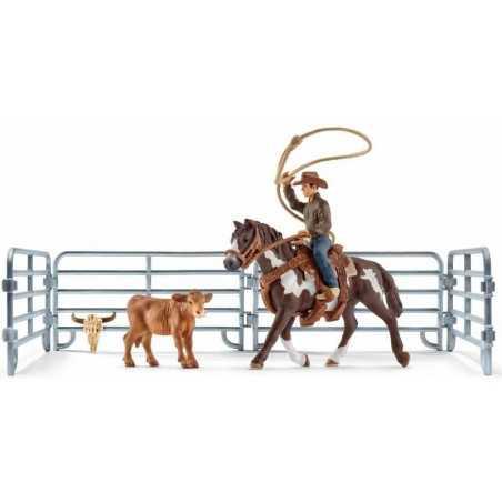 Set COWBOY CON LAZO kit da gioco FARM WORLD Schleich 41418 miniature in resina CAVALLI età 3+