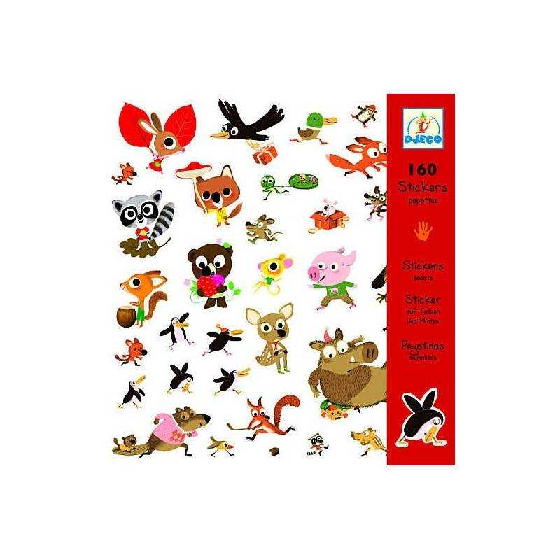 """Stickers """"animals of the forest"""" 160 PCs."""