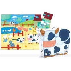 Kuh-Puzzle und Bauernhof, 24 Stk. Alter 3 +