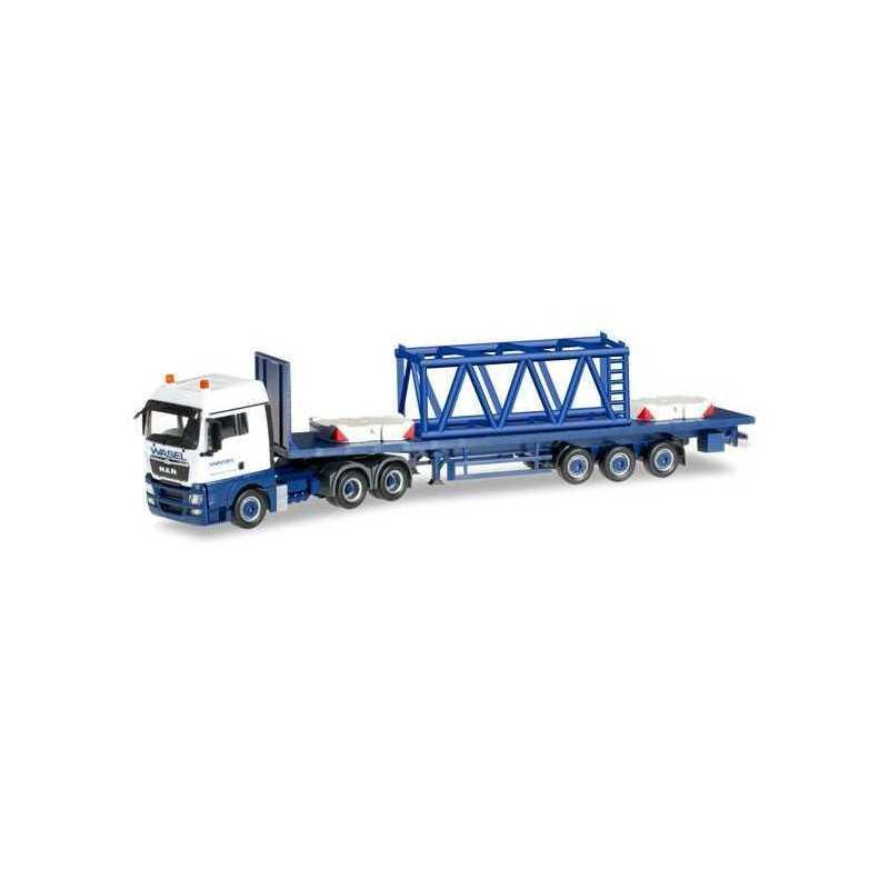 MAN TGX XLX SEMITRAILER GIRDER MAST 6M WASEL KRANE Herpa 304696 Auto Trucks Camion scala 1:87 model