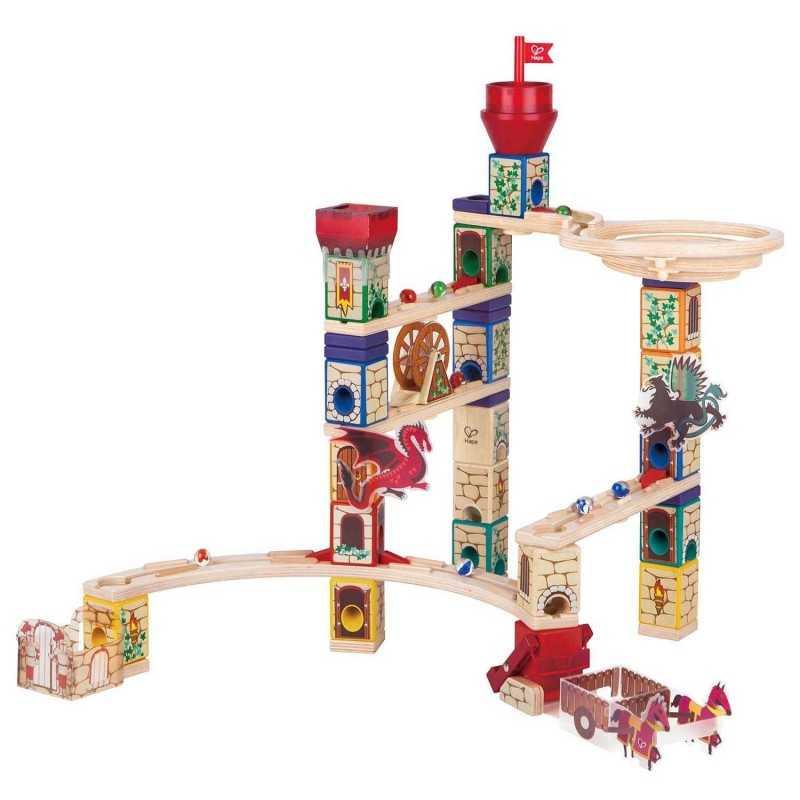 QUADRILLA MEDIEVAL QUEST set base gioco HAPE piste in legno per biglie età 4+
