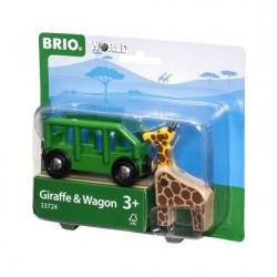 VAGONE GIRAFFA trenino BRIO WORLD treni in legno 33724 carrello elevatore GIRAFFE AND WAGON età 3+