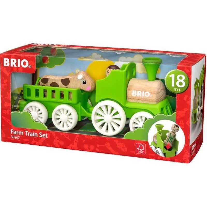 SET TRENINO FERROVIA treno BRIO in legno 30267 per i più piccoli FARM TRAIN KIT 18 mesi +