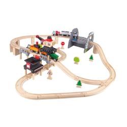 SET SOLLEVA E SCARICA IN MINIERA treni in legno HAPE pista trenino E3752 età 3+