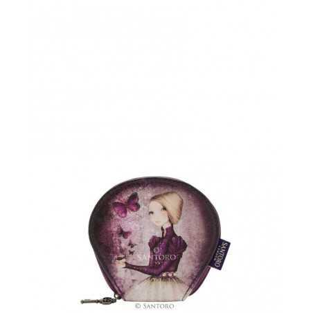 PORTAMONETE SMALL Santoro AMETHYST BUTTERFLY curved flat purse MIRABELLE accessori 648EC03 viola