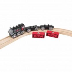 TRENO MERCI D'EPOCA in legno HAPE trenino E3717 magnetico 2 VAGONI E LOCOMOTIVA età 3+