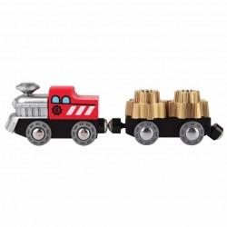 TRENO con ingranaggi RUOTE DENTATE in legno HAPE trenino E3719 magnetico VAGONE E LOCOMOTIVA età 3+
