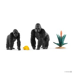 GORILLA IN CERCA DI CIBO miniature in resina WILD LIFE animali JUNGLE Schleich 42382 età 3+