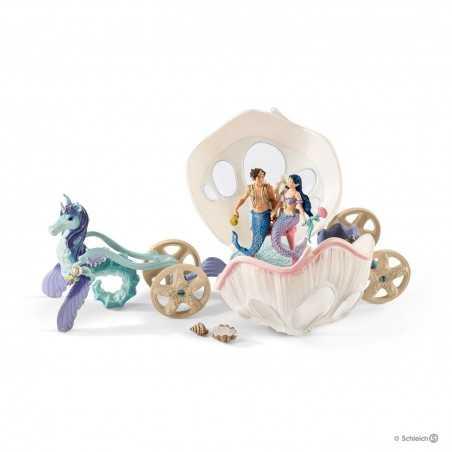 Set CARROZZA REALE A CONCHIGLIA Schleich DIORAMA kit da gioco BAYALA sirene 41460 miniature in resina 5+