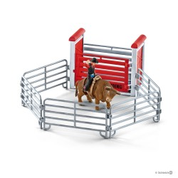 Set TORO DA RODEO CON COWBOY diorama SCHLEICH kit da gioco FARM WORLD 41419 miniature in resina 3+